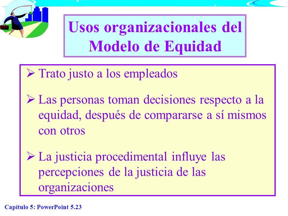 Capítulo 5: PowerPoint 5.23 Usos organizacionales del Modelo de Equidad Trato justo a los empleados Las personas toman decisiones respecto a la equida