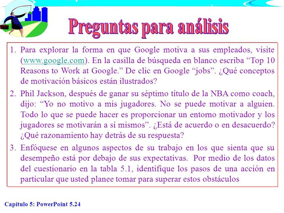 Capítulo 5: PowerPoint 5.24 1.Para explorar la forma en que Google motiva a sus empleados, visite (www.google.com). En la casilla de búsqueda en blanc