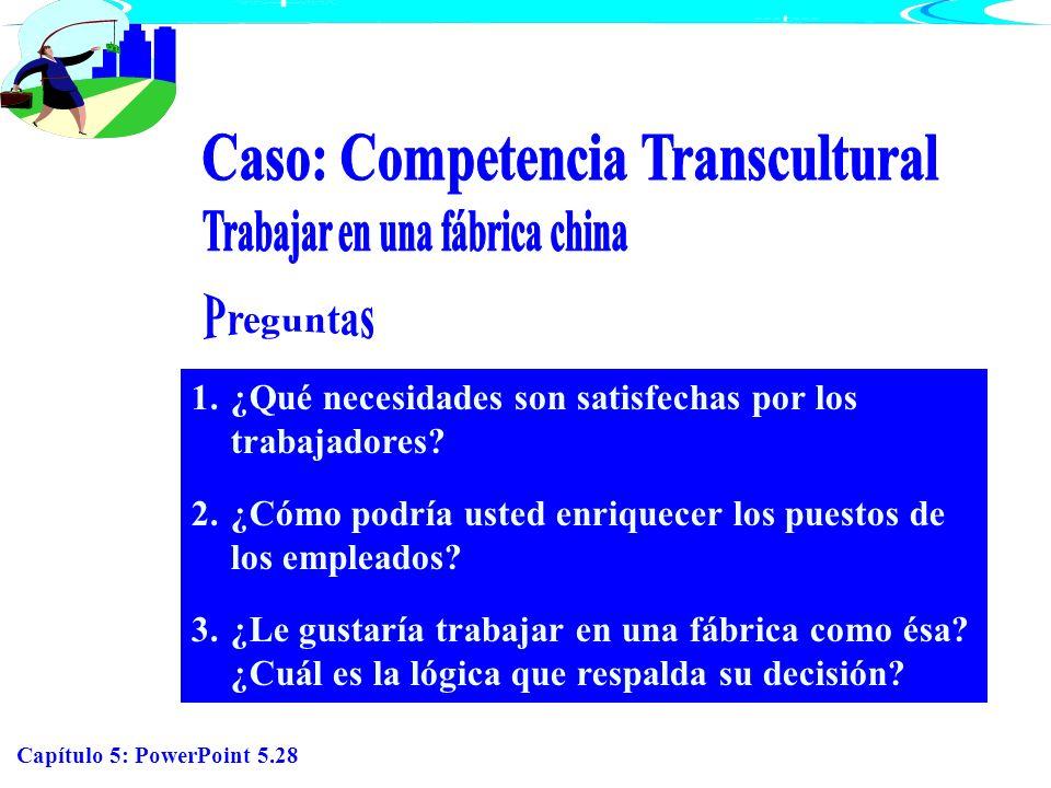 Capítulo 5: PowerPoint 5.28 1.¿Qué necesidades son satisfechas por los trabajadores? 2.¿Cómo podría usted enriquecer los puestos de los empleados? 3.¿