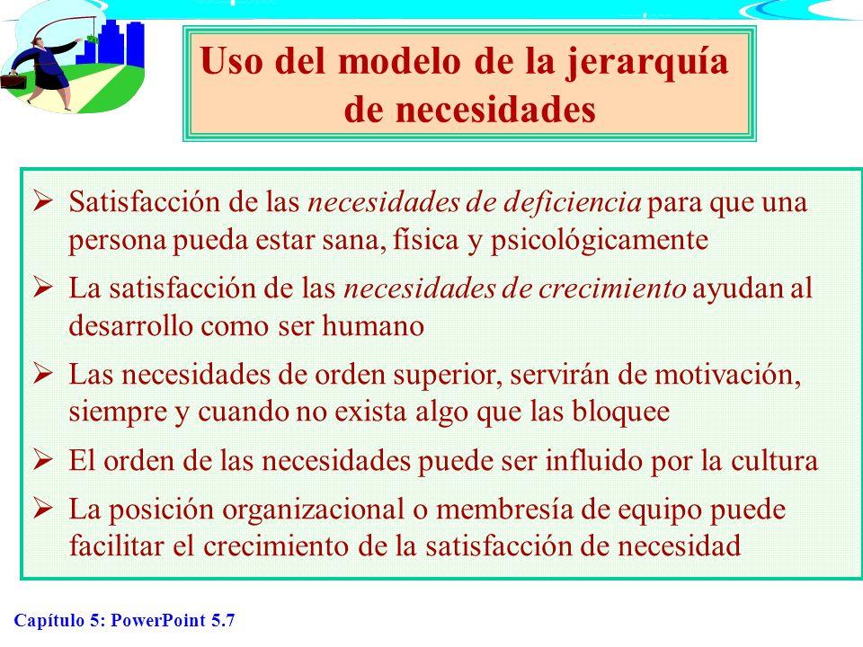 Capítulo 5: PowerPoint 5.8 Necesidades aprendidas Necesidades aprendidas McClelland Poder Acción que afecta la conducta de otros Afiliación Deseo de agradar y de estar en buenos términos con los demás Logro Comportamiento hacia la competencia con un estándar de excelencia