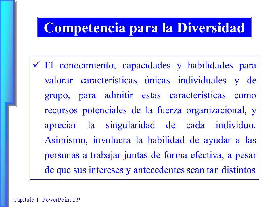 Capítulo 1: PowerPoint 1.9 Competencia para la Diversidad El conocimiento, capacidades y habilidades para valorar características únicas individuales