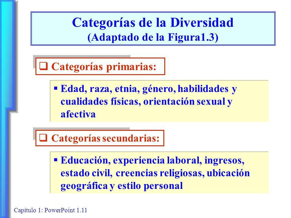 Capítulo 1: PowerPoint 1.11 Categorías de la Diversidad (Adaptado de la Figura1.3) Categorías primarias: Edad, raza, etnia, género, habilidades y cual
