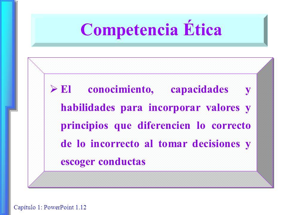 Capítulo 1: PowerPoint 1.12 El conocimiento, capacidades y habilidades para incorporar valores y principios que diferencien lo correcto de lo incorrec