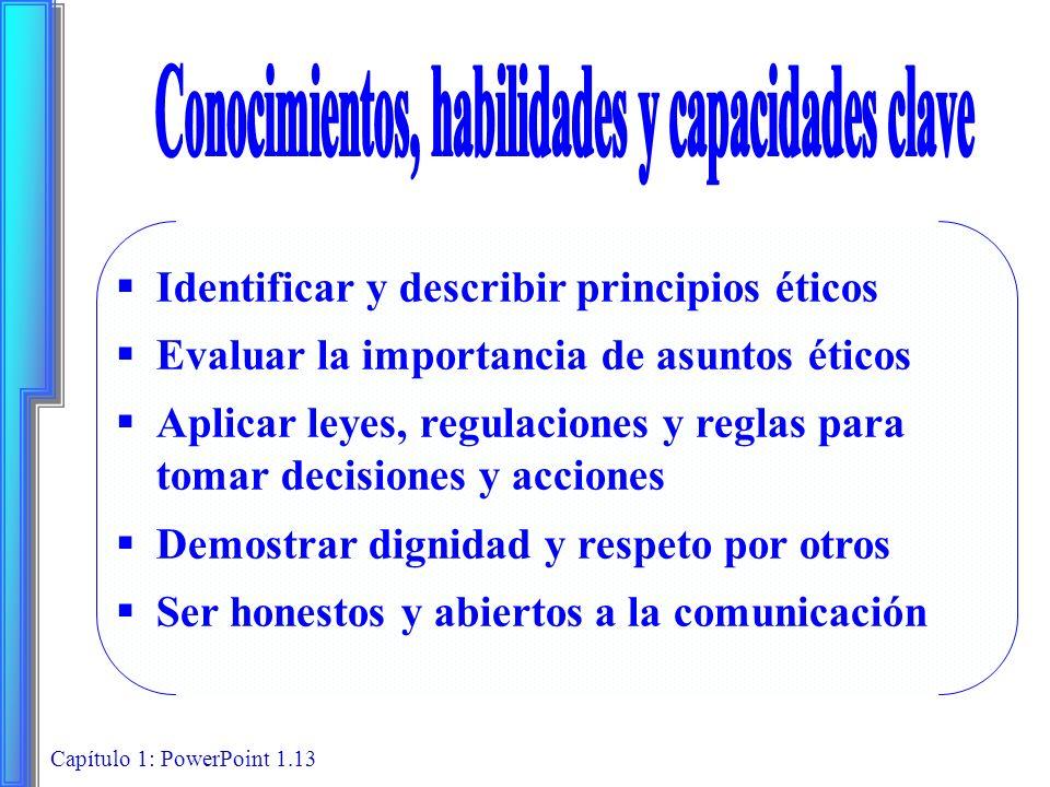 Capítulo 1: PowerPoint 1.13 Identificar y describir principios éticos Evaluar la importancia de asuntos éticos Aplicar leyes, regulaciones y reglas pa