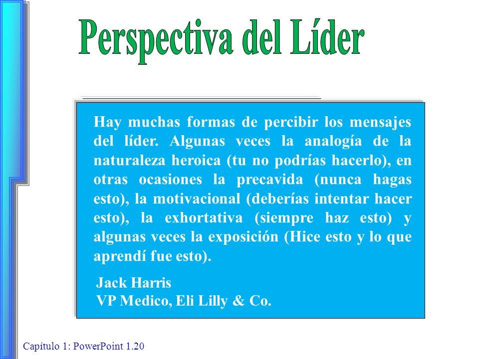 Capítulo 1: PowerPoint 1.20 Hay muchas formas de percibir los mensajes del líder. Algunas veces la analogía de la naturaleza heroica (tu no podrías ha