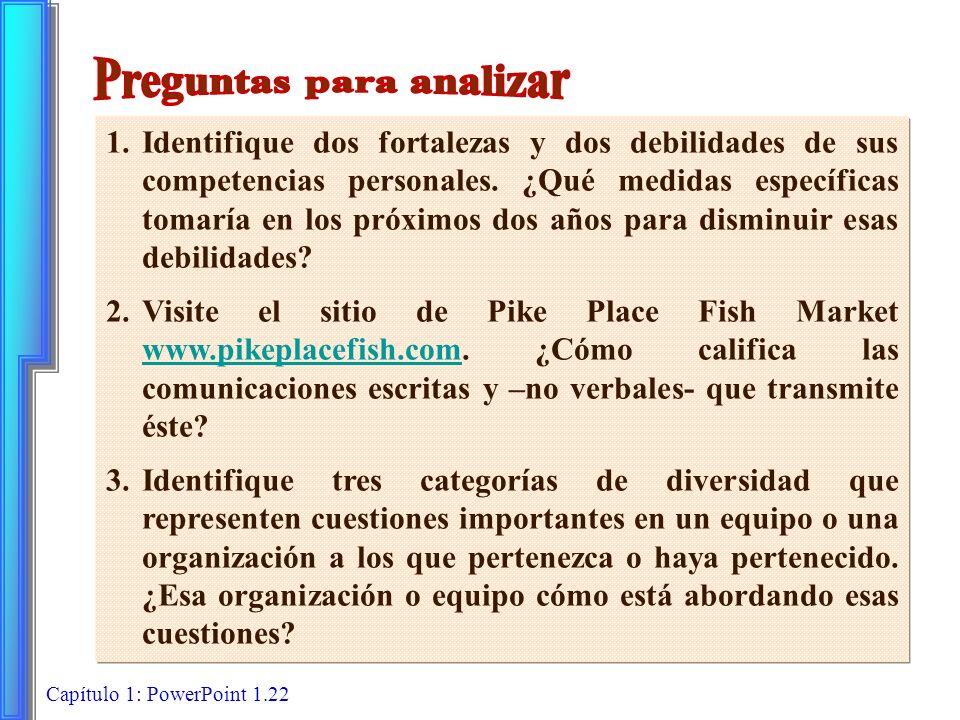Capítulo 1: PowerPoint 1.22 1.Identifique dos fortalezas y dos debilidades de sus competencias personales. ¿Qué medidas específicas tomaría en los pró