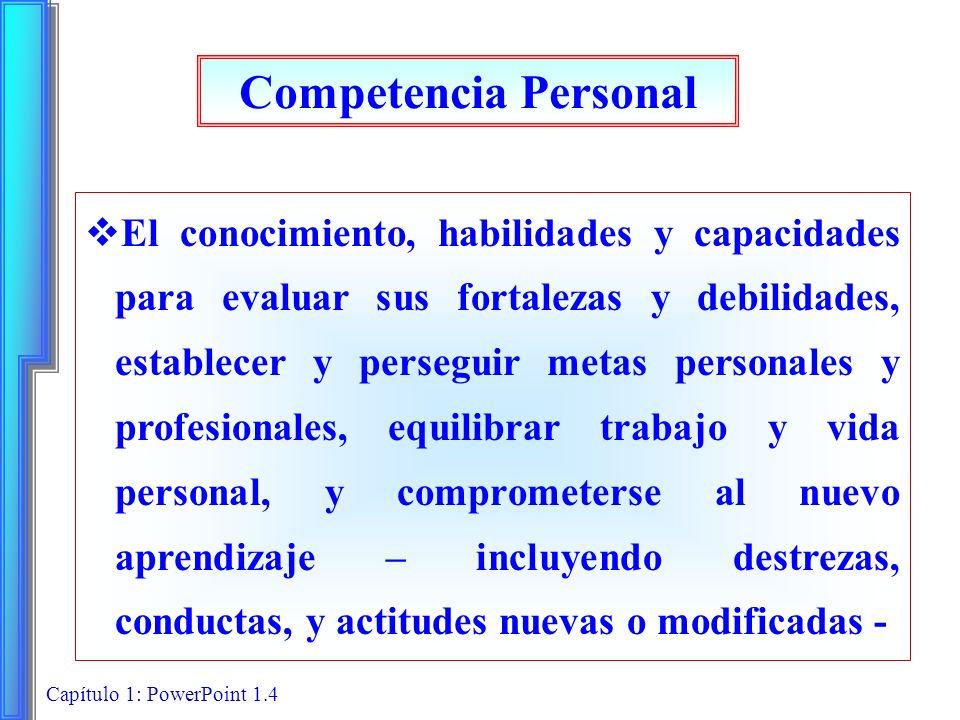 Capítulo 1: PowerPoint 1.5 Conocimientos, habilidades y capacidades clave Comprender su personalidad y actitudes, así como las de otros Percibir, evaluar e interpretar con precisión Comprender los motivos para trabajar y las emociones respecto al trabajo de otros Evaluar y establecer metas de desarrollo, las personales y laborales Asumir la responsabilidad de administración personal y la de su carrera