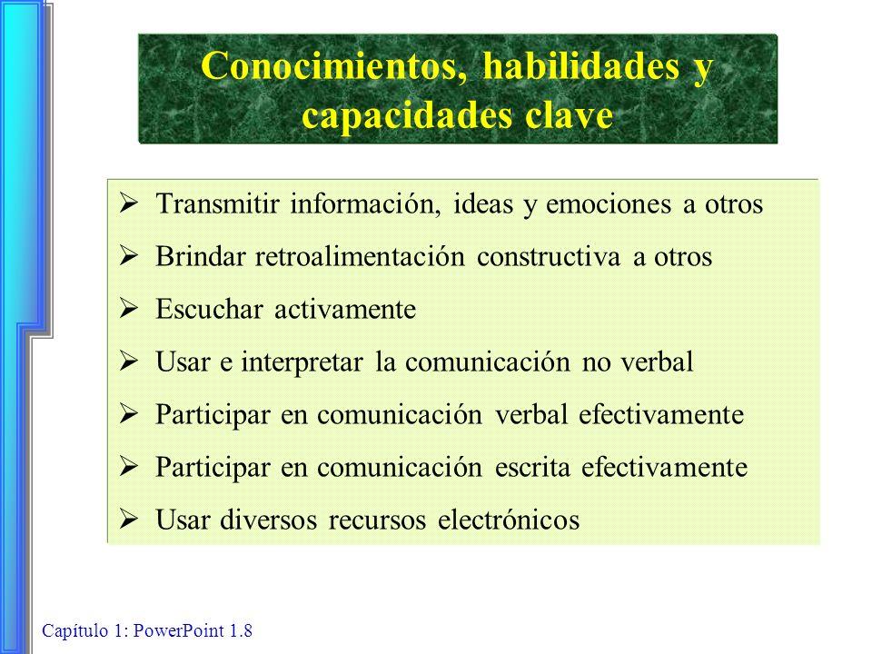 Capítulo 1: PowerPoint 1.8 Conocimientos, habilidades y capacidades clave Transmitir información, ideas y emociones a otros Brindar retroalimentación
