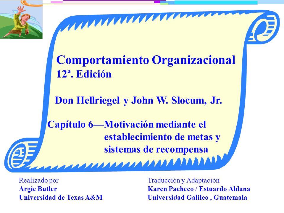 Capítulo 6: PowerPoint 6.1 Objetivos de aprendizaje Explicar el efecto del establecimiento de metas en el desempeño.