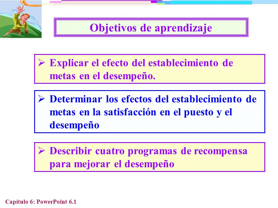 Capítulo 6: PowerPoint 6.12 Por qué el establecimiento de metas promueve un alto desempeño Metas difíciles pero alcanzables ayudan a las personas a concentrarse en alcanzar las metas Metas difíciles motivan a las personas a invertir tiempo y esfuerzo en desarrollar métodos para alcanzarlas Metas difíciles incrementan la persistencia en las personas para alcanzar sus metas
