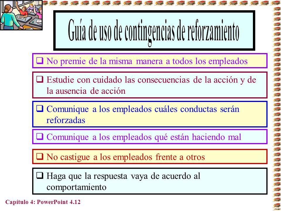 Capítulo 4: PowerPoint 4.12 Comunique a los empleados cuáles conductas serán reforzadas Estudie con cuidado las consecuencias de la acción y de la aus