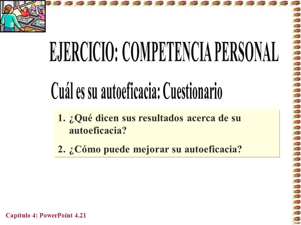 Capítulo 4: PowerPoint 4.21 1.¿Qué dicen sus resultados acerca de su autoeficacia? 2.¿Cómo puede mejorar su autoeficacia?