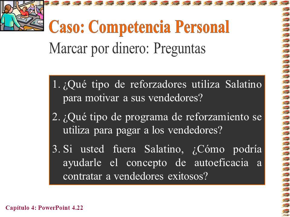Capítulo 4: PowerPoint 4.22 1.¿Qué tipo de reforzadores utiliza Salatino para motivar a sus vendedores? 2.¿Qué tipo de programa de reforzamiento se ut