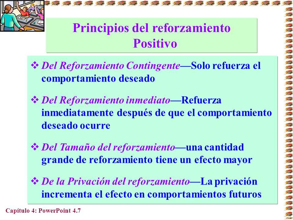 Capítulo 4: PowerPoint 4.7 Principios del reforzamiento Positivo Del Reforzamiento ContingenteSolo refuerza el comportamiento deseado Del Reforzamient