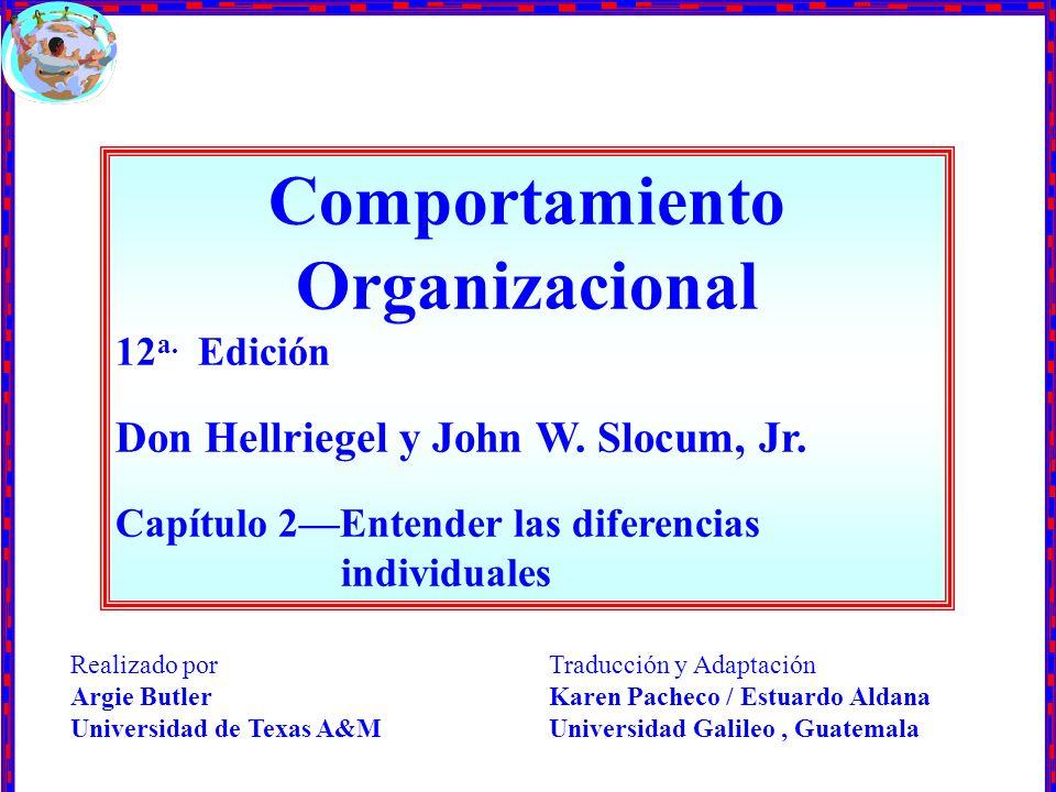 Comportamiento Organizacional 12 a. Edición Don Hellriegel y John W. Slocum, Jr. Capítulo 2Entender las diferencias individuales Traducción y Adaptaci