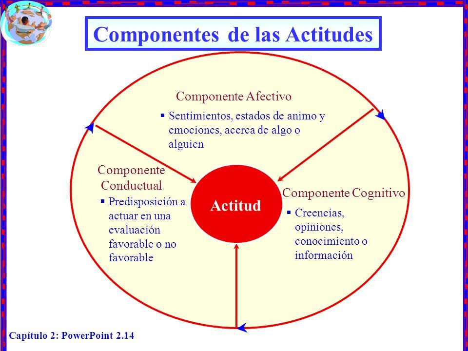 Capítulo 2: PowerPoint 2.14 Componentes de las Actitudes Actitud Predisposición a actuar en una evaluación favorable o no favorable Componente Cogniti