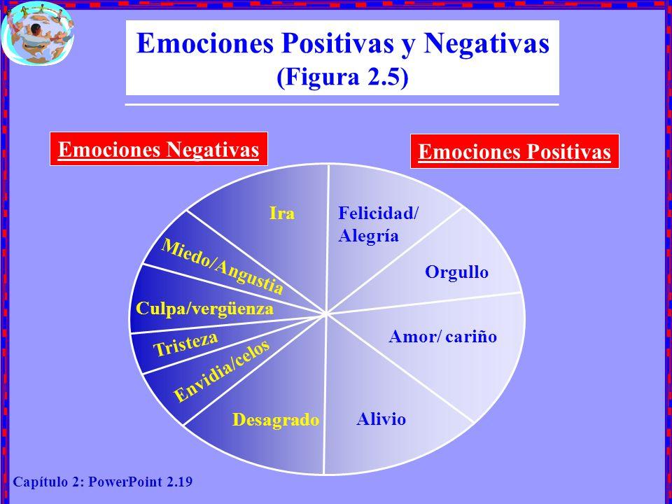 Capítulo 2: PowerPoint 2.19 Emociones Positivas y Negativas (Figura 2.5) Emociones Negativas Emociones Positivas IraFelicidad/ Alegría Orgullo Amor/ c