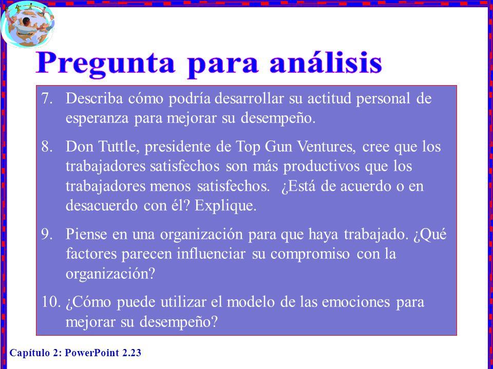 Capítulo 2: PowerPoint 2.23 7.Describa cómo podría desarrollar su actitud personal de esperanza para mejorar su desempeño. 8.Don Tuttle, presidente de