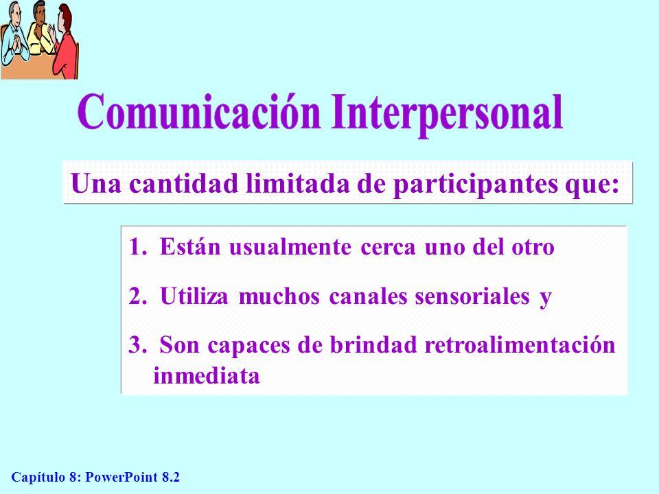Capítulo 8: PowerPoint 8.3 Elementos de la comunicación personal (Figura 8.1) Emisor Receptor Inicio Codificación Significado Decodificación Significado Barreras ReceptoresTransmisores Canales (mensajes) (Receptor)(Emisor) TransmisoresReceptores Canales (mensajes) Codificación Proceso de retroalimentación