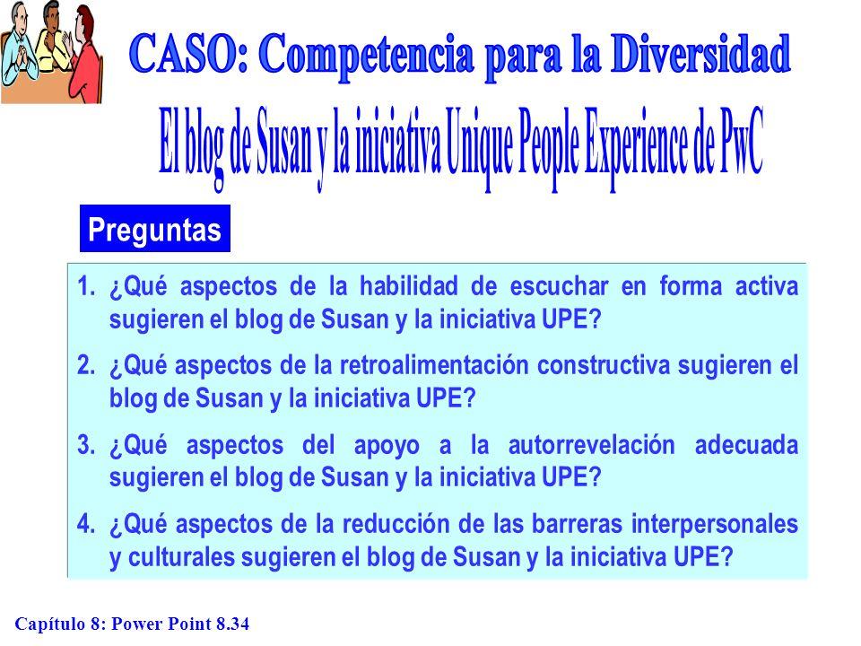 Capítulo 8: Power Point 8.34 Preguntas 1.¿Qué aspectos de la habilidad de escuchar en forma activa sugieren el blog de Susan y la iniciativa UPE? 2.¿Q