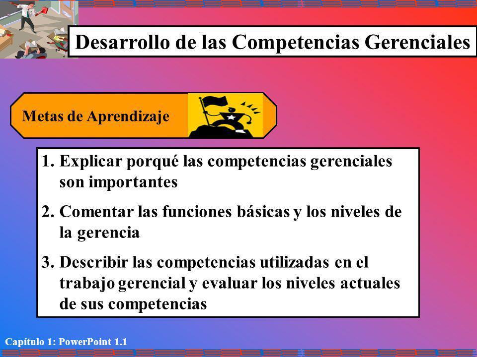 Capítulo 1: PowerPoint 1.1 Desarrollo de las Competencias Gerenciales Metas de Aprendizaje 1.Explicar porqué las competencias gerenciales son importan