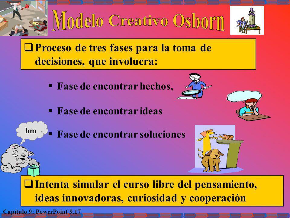 Capítulo 9: PowerPoint 9.17 Proceso de tres fases para la toma de decisiones, que involucra: Fase de encontrar hechos, Fase de encontrar ideas Fase de