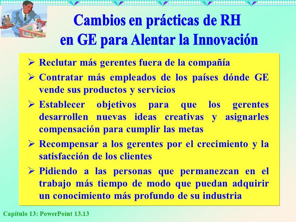 Capítulo 13: PowerPoint 13.13 R eclutar más gerentes fuera de la compañía C ontratar más empleados de los países dónde GE vende sus productos y servic