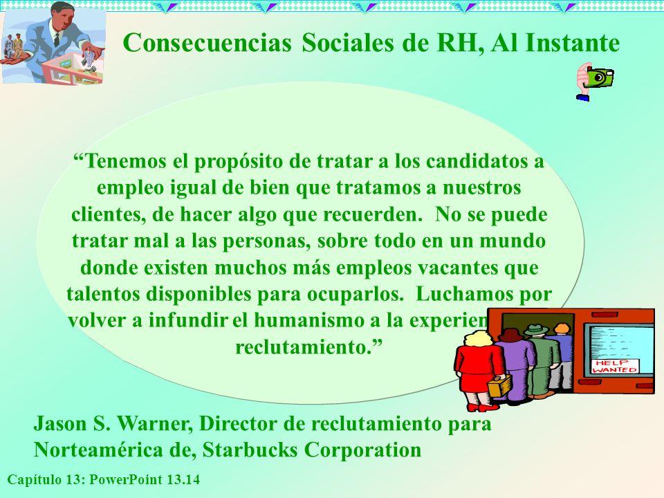 Capítulo 13: PowerPoint 13.14 Consecuencias Sociales de RH, Al Instante Tenemos el propósito de tratar a los candidatos a empleo igual de bien que tra