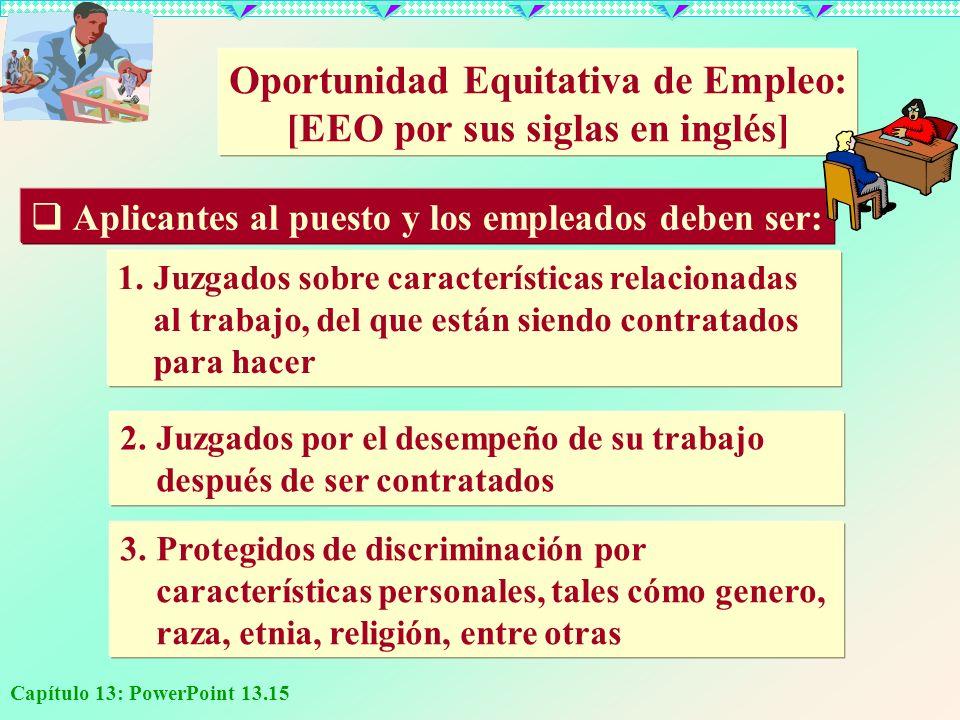 Capítulo 13: PowerPoint 13.15 Oportunidad Equitativa de Empleo: [EEO por sus siglas en inglés] Aplicantes al puesto y los empleados deben ser: 1.Juzga