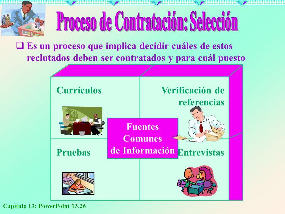 Capítulo 13: PowerPoint 13.26 PruebasEntrevistas CurrículosVerificación de referencias Fuentes Comunes de Información E s un proceso que implica decid