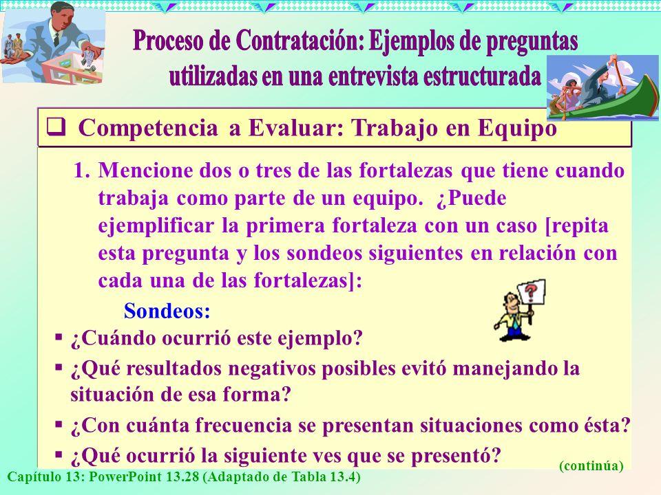 Capítulo 13: PowerPoint 13.28 (Adaptado de Tabla 13.4) C ompetencia a Evaluar: Trabajo en Equipo 1.Mencione dos o tres de las fortalezas que tiene cua