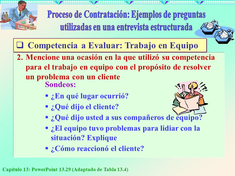 Capítulo 13: PowerPoint 13.29 (Adaptado de Tabla 13.4) 2.Mencione una ocasión en la que utilizó su competencia para el trabajo en equipo con el propós