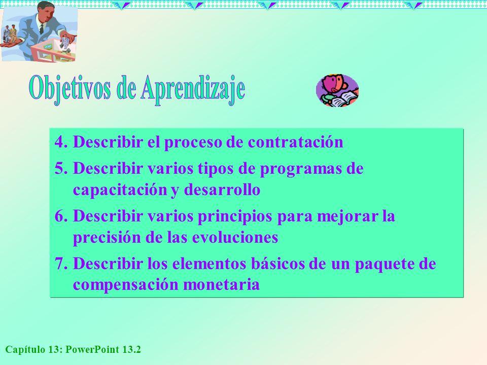 Capítulo 13: PowerPoint 13.2 4.Describir el proceso de contratación 5.Describir varios tipos de programas de capacitación y desarrollo 6.Describir var