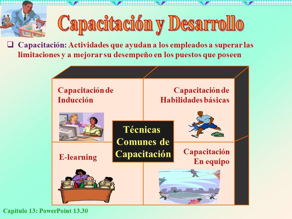Capítulo 13: PowerPoint 13.30 E-learning Capacitación En equipo Capacitación de Inducción Capacitación de Habilidades básicas Técnicas Comunes de Capa