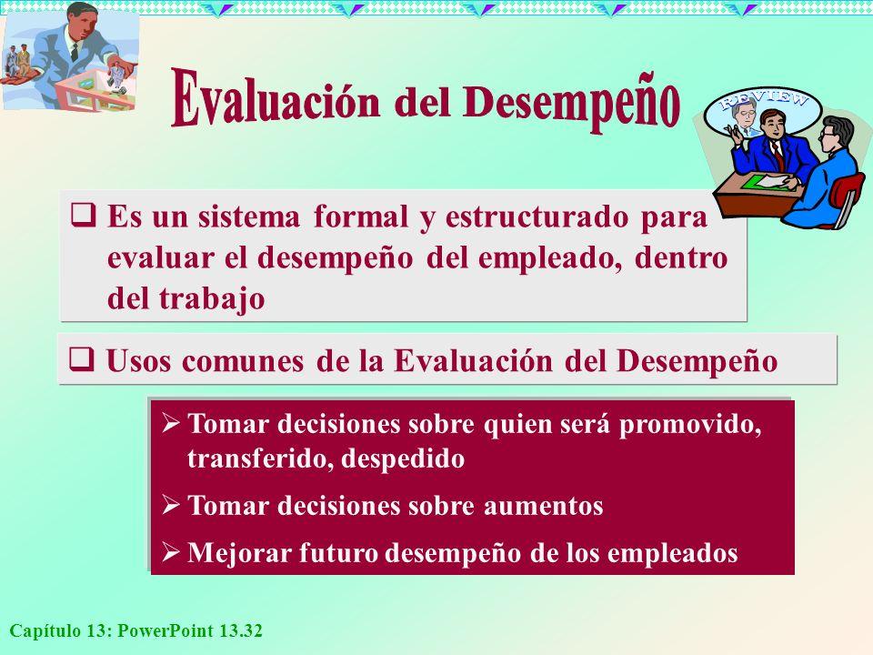 Capítulo 13: PowerPoint 13.32 Es un sistema formal y estructurado para evaluar el desempeño del empleado, dentro del trabajo Usos comunes de la Evalua