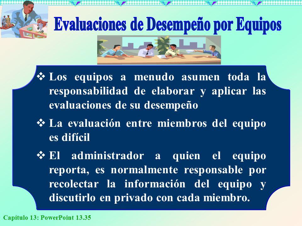Capítulo 13: PowerPoint 13.35 Los equipos a menudo asumen toda la responsabilidad de elaborar y aplicar las evaluaciones de su desempeño La evaluación