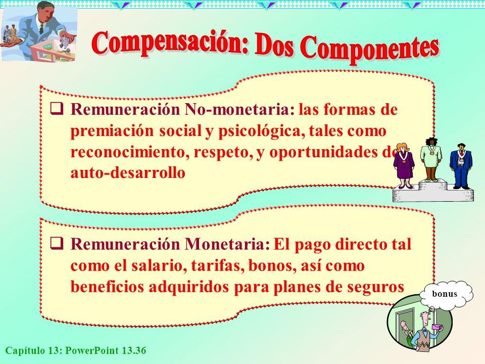 Capítulo 13: PowerPoint 13.36 Remuneración No-monetaria: las formas de premiación social y psicológica, tales como reconocimiento, respeto, y oportuni
