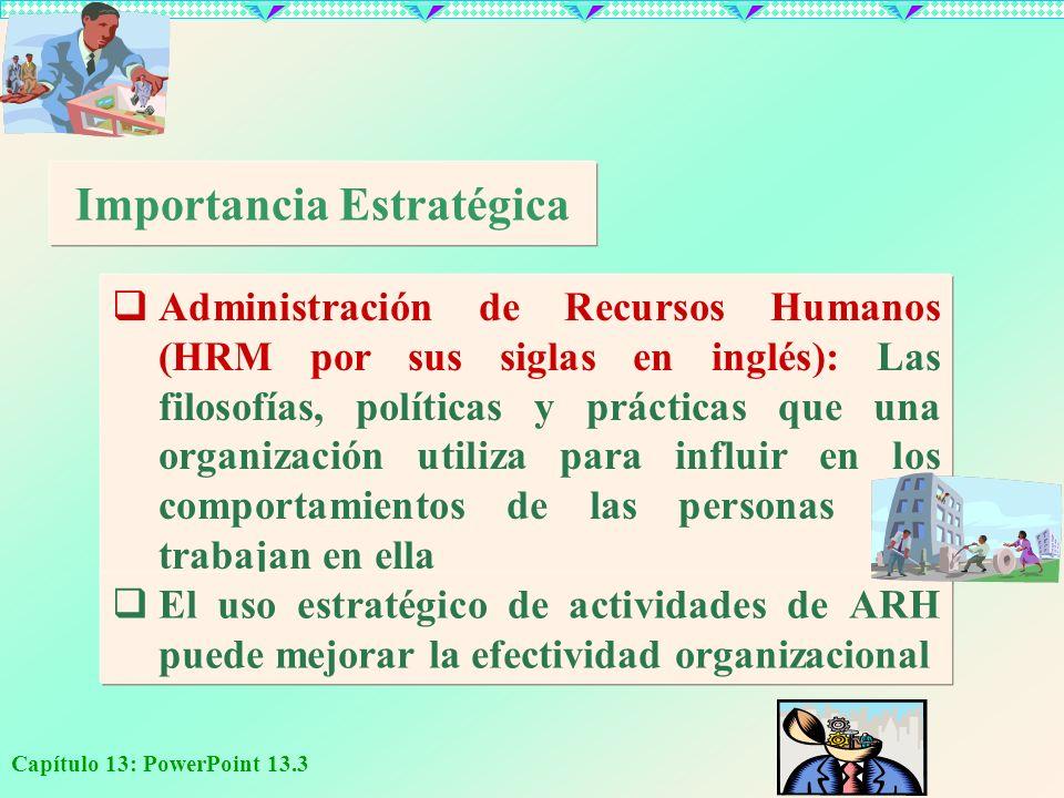 Capítulo 13: PowerPoint 13.3 Importancia Estratégica Administración de Recursos Humanos (HRM por sus siglas en inglés): Las filosofías, políticas y pr