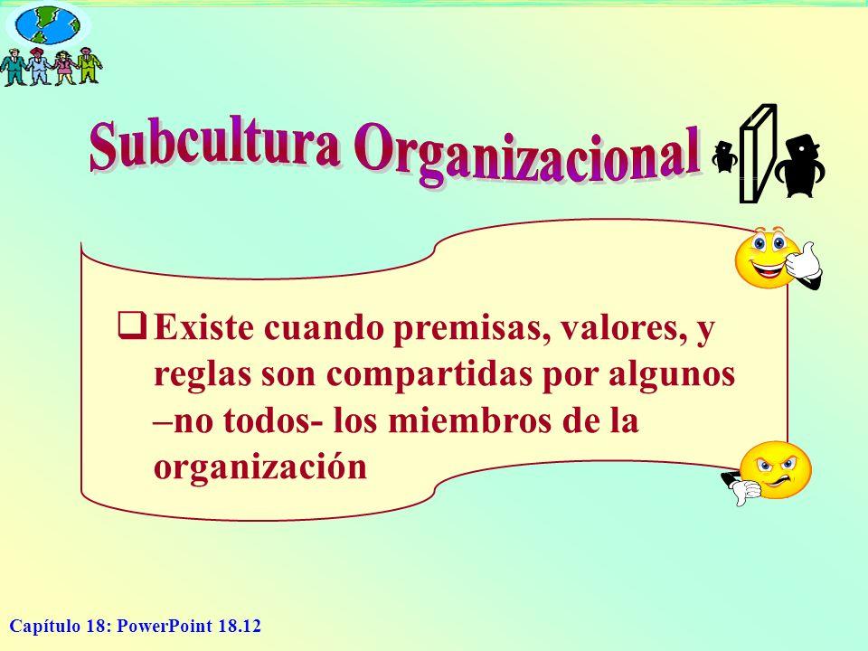 Capítulo 18: PowerPoint 18.12 Existe cuando premisas, valores, y reglas son compartidas por algunos –no todos- los miembros de la organización