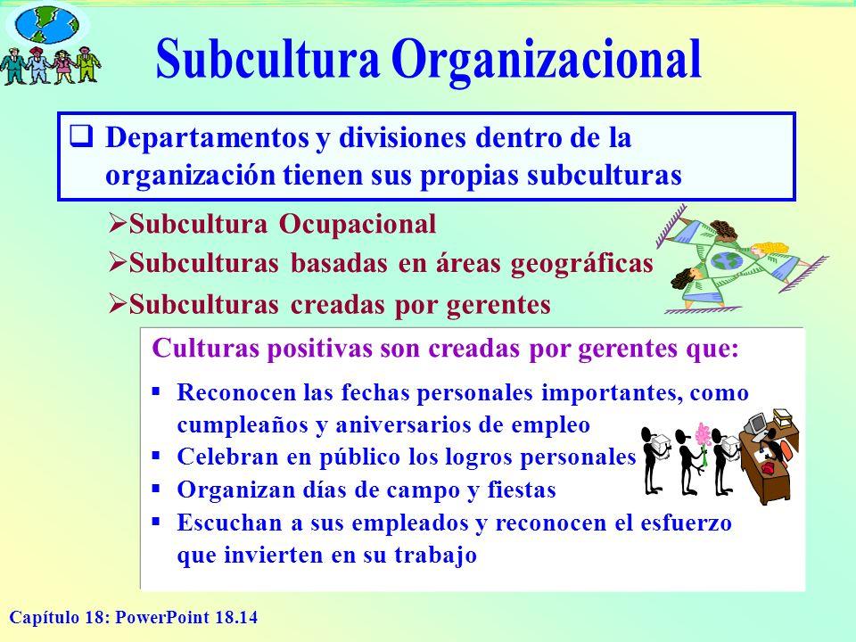 Capítulo 18: PowerPoint 18.14 D epartamentos y divisiones dentro de la organización tienen sus propias subculturas Subcultura Ocupacional Subculturas