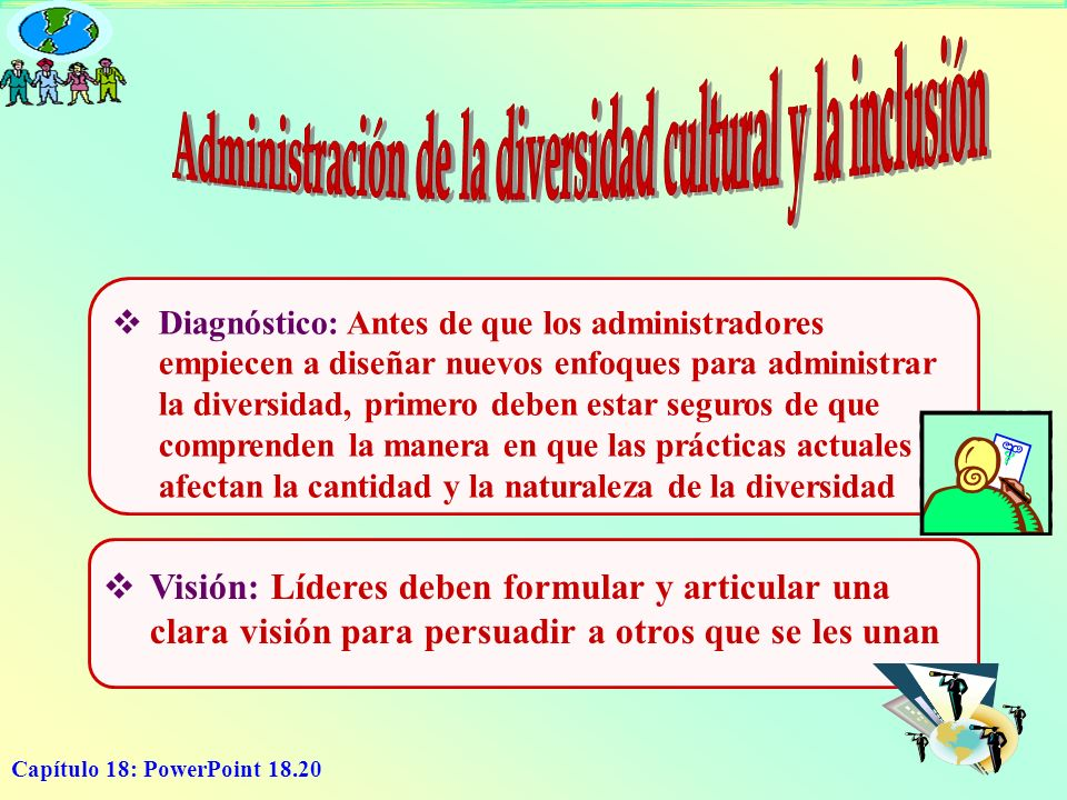 Capítulo 18: PowerPoint 18.20 Diagnóstico: Antes de que los administradores empiecen a diseñar nuevos enfoques para administrar la diversidad, primero