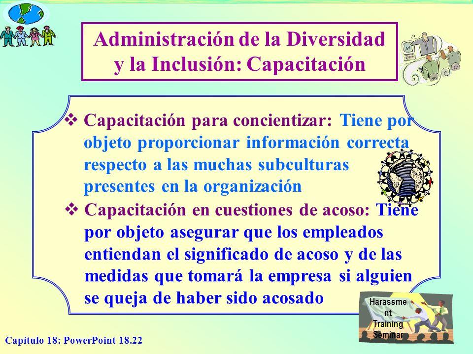 Capítulo 18: PowerPoint 18.22 Administración de la Diversidad y la Inclusión: Capacitación Capacitación para concientizar: Tiene por objeto proporcion