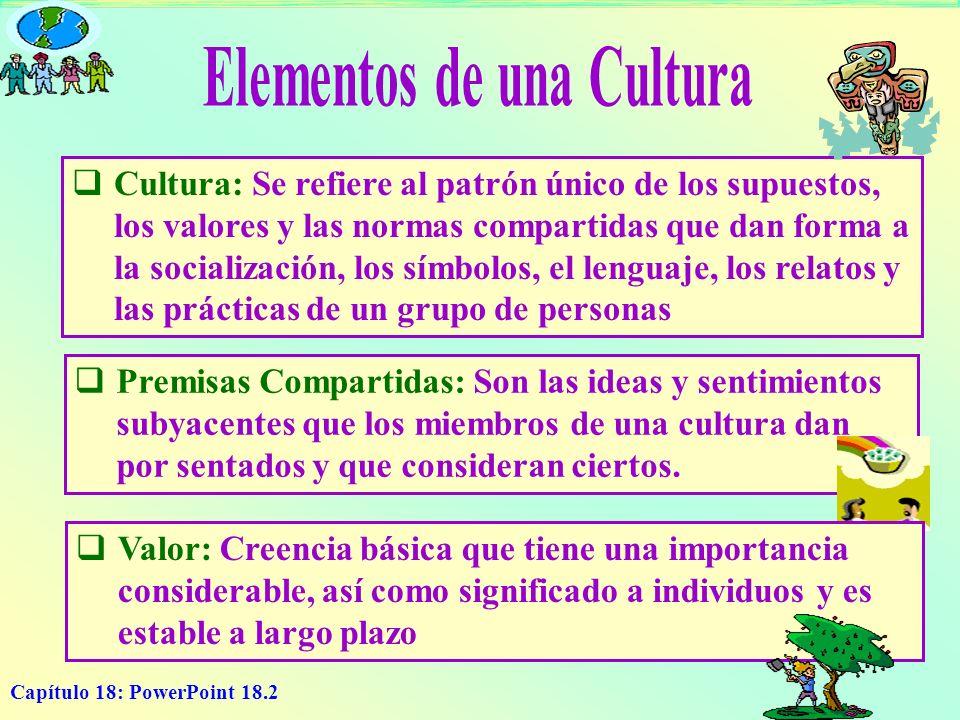 Capítulo 18: PowerPoint 18.2 Cultura: Se refiere al patrón único de los supuestos, los valores y las normas compartidas que dan forma a la socializaci
