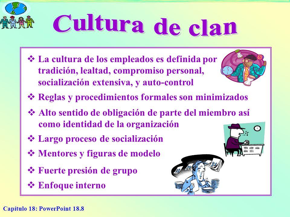 Capítulo 18: PowerPoint 18.8 L a cultura de los empleados es definida por tradición, lealtad, compromiso personal, socialización extensiva, y auto-con