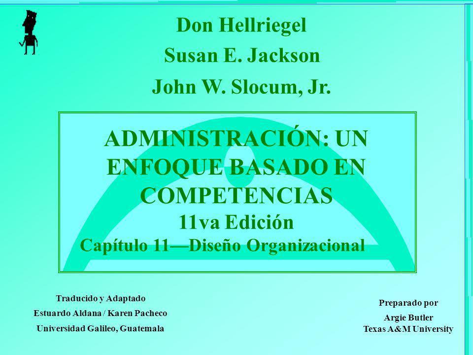 ADMINISTRACIÓN: UN ENFOQUE BASADO EN COMPETENCIAS 11va Edición Capítulo 11Diseño Organizacional Don Hellriegel Susan E. Jackson John W. Slocum, Jr. Tr