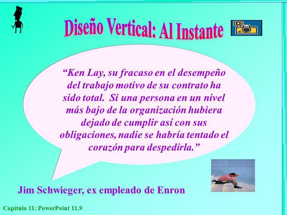 Capítulo 11: PowerPoint 11.9 Jim Schwieger, ex empleado de Enron Ken Lay, su fracaso en el desempeño del trabajo motivo de su contrato ha sido total.