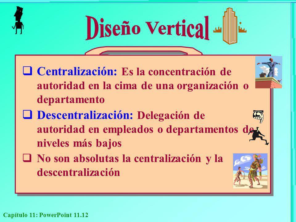 Capítulo 11: PowerPoint 11.12 Centralización: Es la concentración de autoridad en la cima de una organización o departamento Descentralización: Delega