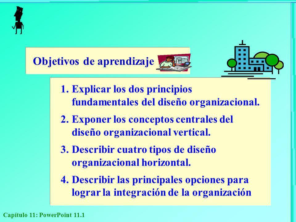 Capítulo 11: PowerPoint 11.1 Objetivos de aprendizaje 1.Explicar los dos principios fundamentales del diseño organizacional. 2.Exponer los conceptos c