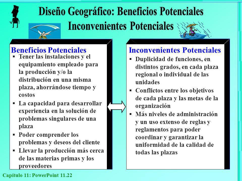 Capítulo 11: PowerPoint 11.22 Beneficios Potenciales Tener las instalaciones y el equipamiento empleado para la producción y/o la distribución en una