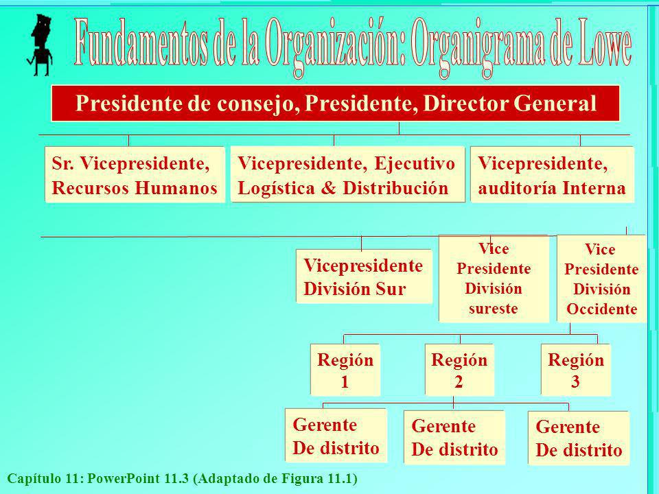 Capítulo 11: PowerPoint 11.3 (Adaptado de Figura 11.1) Vice Presidente División sureste Vicepresidente División Sur Vicepresidente, auditoría Interna